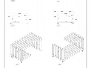 MESA +-: Salas de estilo  por gOO Arquitectos