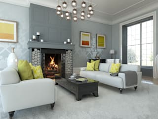 Rose Room Interior Design:  Living room by Caxton Rhode