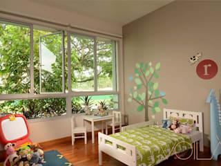 Bedok Ria Crescent Town House:  Nursery/kid's room by VOILÀ Pte Ltd