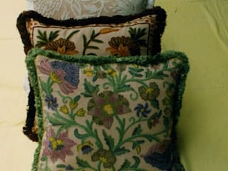 Crewel Cushions by Crewel Fabric From Zia Enterprises