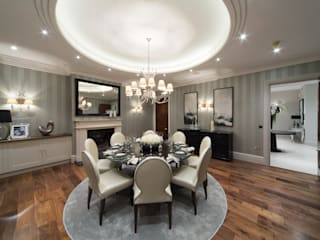 Flairlight Project 1 Oxshott, Tudor House:  Dining room by Flairlight Designs Ltd