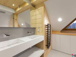 Aranżacja łazienki wykonanej przez firmę LUXUM Nowoczesna łazienka od Luxum Nowoczesny