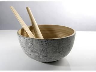 TCHON Kham- Saladier en bambou marqueté de coquille d'oeuf:  de style  par bibol