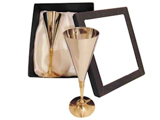 2-Pc Nickel Plated V Shape Wine Glasses Gift Set by M4design