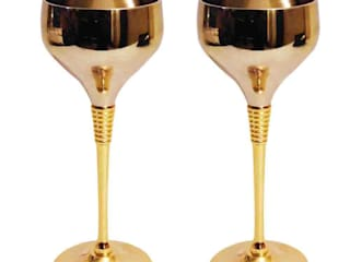 24K Gold Plated 2 Pc Wine Glasses Gift Set by M4design