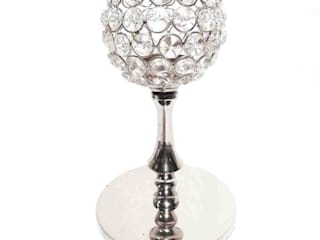Round Crystal Beaded Nickel Plated T – Lite Candle Holder by M4design