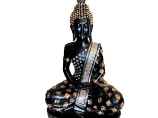 Lord Buddha Black Polystone Statue by M4design