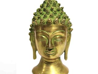 Green Patina Brass Buddha Head Statue by M4design