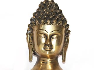 Antique Style Brass Buddha Head Sculpture by M4design