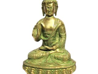 Lord Buddha Green Patina Brass Statue by M4design