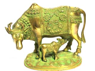 Green Brass Kamdhenu Statue -Sacred Wish Fulfill Cow by M4design