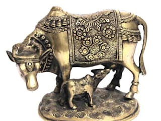 Antique Brass Kamdhenu Cow & Calf Statue: asian  by M4design,Asian