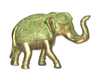 Green Patina Brass Elephant Scupture/ Feng Shui Victory Symbol: asian  by M4design,Asian