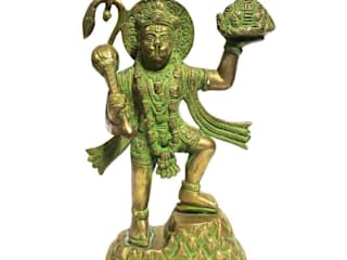 Green Brass Lord Hanuman Statue Carrying Mountain of Herbs (Sanjeevani): asian  by M4design,Asian