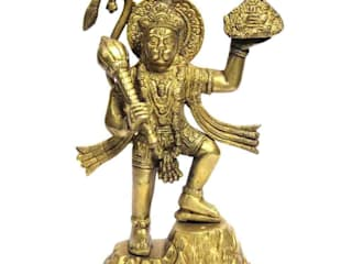 Lord Hanuman Brass Sculpture Carrying Mountain of Herbs: asian  by M4design,Asian