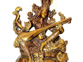 Indian Goddess Saraswati Brass Statue: asian  by M4design,Asian