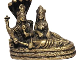Divine Lord Vishnu Laxmi On Sheshnag Green Brass Sculpture: asian  by M4design,Asian