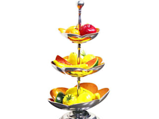 Yellow Enameled 3 Tier Fruit Stand /Cake Stand: asian  by M4design,Asian