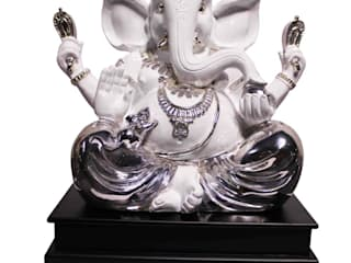 Polystone Ganesha Sculpture Wearing Silver Dress: asian  by M4design,Asian