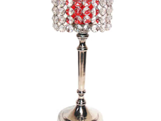 Crystal & Red Glass Cylinder Candle Holders: asian  by M4design,Asian