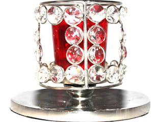 Crystal Beaded Red Glass Tealight Candle Holder: asian  by M4design,Asian