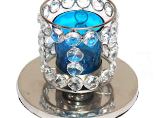 Crystal Beaded Blue Glass Tealight Candle Holder: asian  by M4design,Asian
