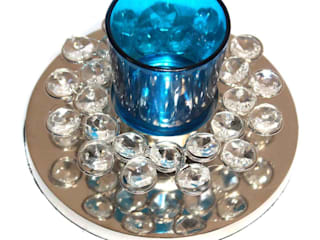 Crystal Decor Blue Glass Votive Tealight Holders: classic  by M4design,Classic