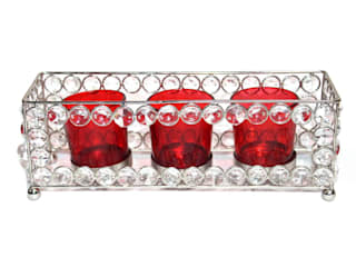 Crystal Frame Triple Red Glass Tealight Holders: asian  by M4design,Asian
