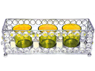 Crystal Frame Triple Amber Glass Tealight Holders: asian  by M4design,Asian