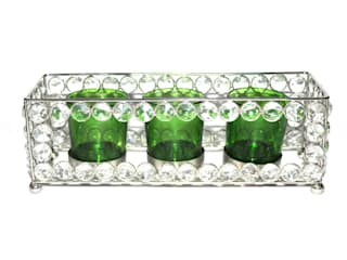 Crystal Frame Triple Green Glass Tealight Holders: classic  by M4design,Classic