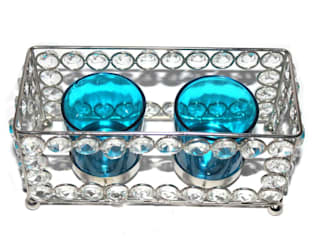Crystal Frame Double Blue Glass Candle Holders: asian  by M4design,Asian