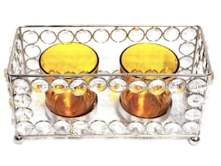 Crystal Frame Double Amber Glass Candle Holders: asian  by M4design,Asian