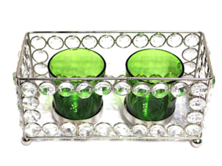 Crystal Frame Double Green Glass Candle Holders: asian  by M4design,Asian