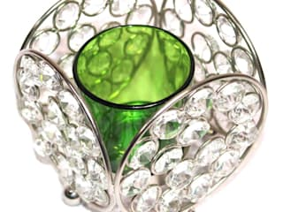 Crystal Lace Green Glass T-Lite Candle Holders: asian  by M4design,Asian