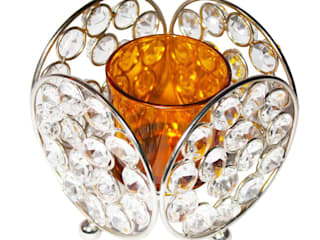 Crystal Lace Yellow Glass T-Lite Candle Holders: asian  by M4design,Asian