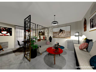 Aménagement d'un appartement de 70m2 en Isère Sonia HADDON Interior Designer Salon moderne
