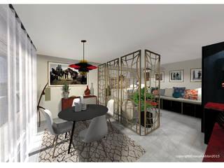 Aménagement d'un appartement de 70m2 en Isère Sonia HADDON Interior Designer Salle à manger moderne