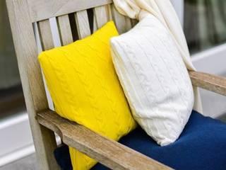 Valerie - Zopfkissen in Gelb und Weiß von Lenz & Leif Klassisch