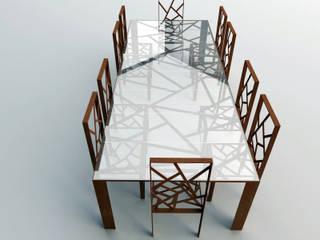 Tavolo in acciaio cor-ten e vetro:  in stile  di Design art