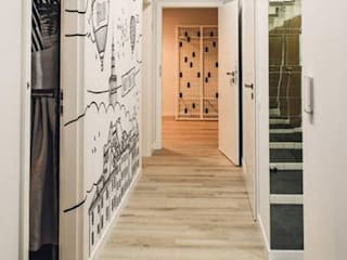 Modern corridor, hallway & stairs by dziurdziaprojekt Modern