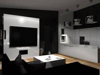 Luksusowy i niepowtarzalny salon z aneksem kuchennym : styl , w kategorii Kuchnia zaprojektowany przez Marika Kafar Autorska Pracownia Projektowa
