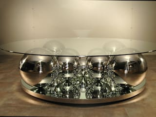 Table basse Boules inox par Design Bois Creation Éclectique