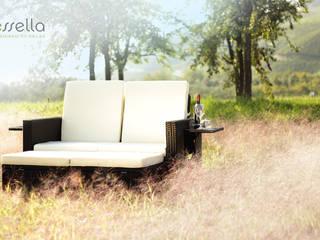 Polyrattan Lounge Milano in Schwarz: modern  von Too-Design GmbH,Modern