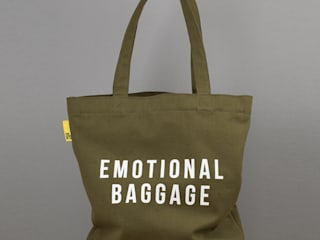 Emotional Baggage canvas tote: eclectic  by An Artful Life, Eclectic