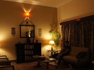 Renovation of an old Bunglow Anna Interiors Rustic style living room