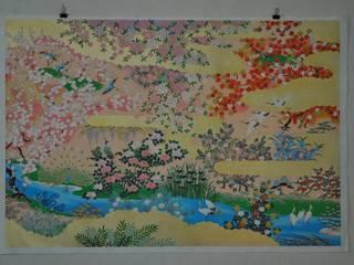 Rivière de fleurs roses par papiergami Asiatique