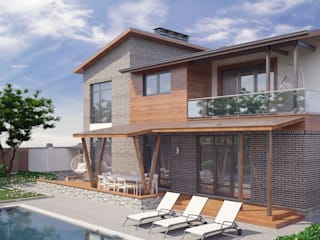 Частный дом для молодой семьи «PUZZLE HOUSE» Балкон и терраса в стиле минимализм от studio forma Минимализм