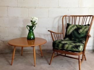 Palm Print Ercol Armchair: tropical  by Sketch Interiors, Tropical