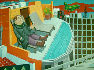"""hostal Barcelo"" 70 x 50cm par Peintre Blanchard"