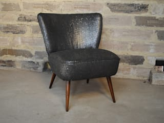 Gun Metal Boucle 1950's Cocktial Chair: eclectic  by Sketch Interiors, Eclectic